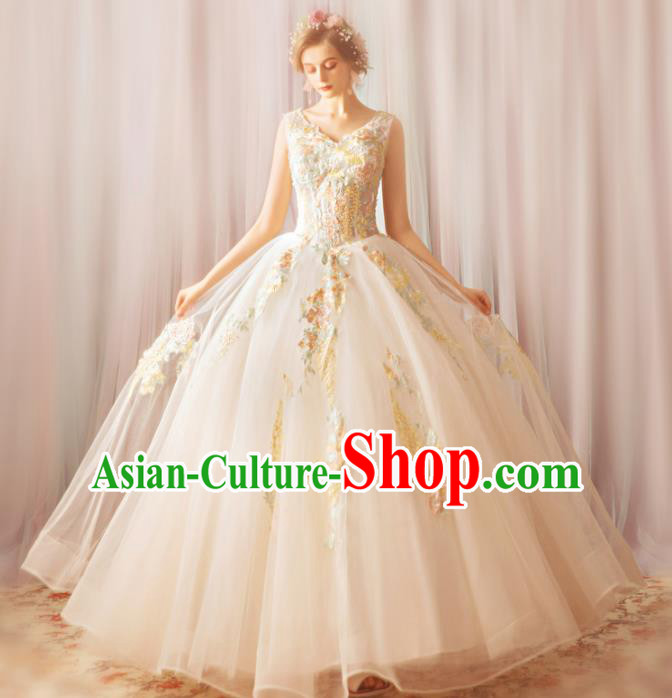 Top Grade Princess Fancy Wedding Dress Handmade Veil Wedding Gown for Women