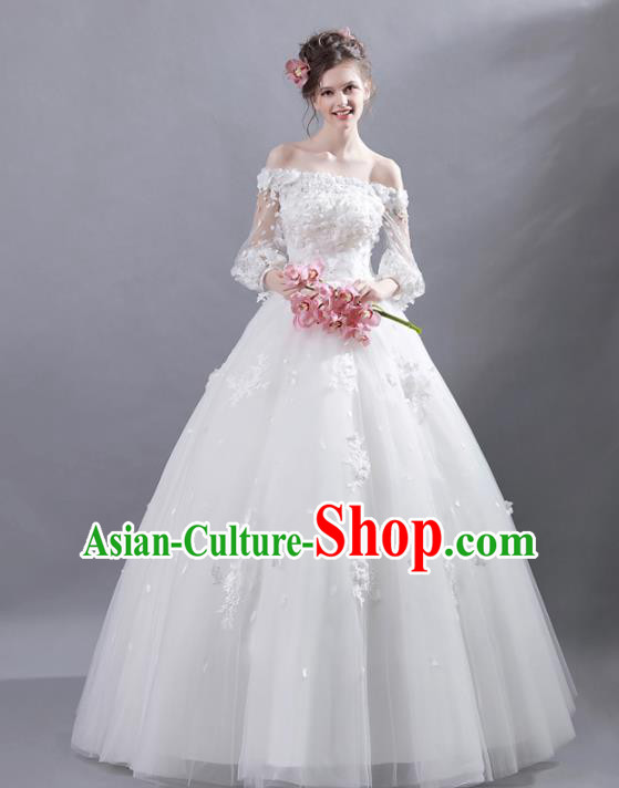 Top Grade Princess Wedding Dress Handmade Fancy Veil Wedding Gown for Women