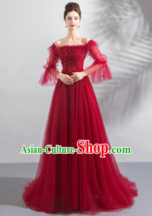 Top Grade Compere Embroidered Costume Handmade Catwalks Bride Wine Red Veil Formal Dress for Women