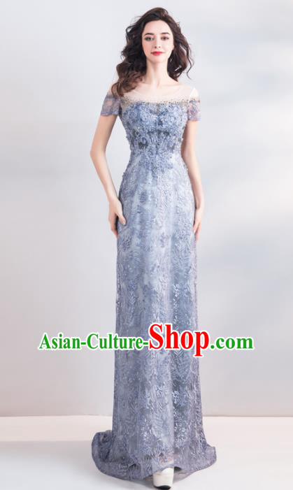 Top Grade Compere Embroidered Costume Handmade Catwalks Bride Fishtail Formal Dress for Women