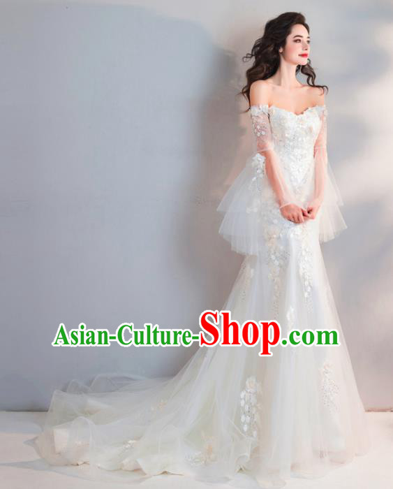 Top Grade Handmade Compere Costume Catwalks Veil Formal Dress for Women