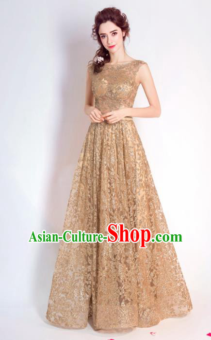 Top Grade Handmade Compere Costume Catwalks Golden Lace Formal Dress for Women