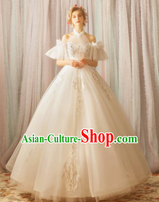 Handmade Top Grade Princess Wedding Dress Fancy Embroidered White Wedding Gown for Women