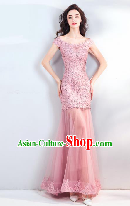Top Grade Compere Formal Dress Handmade Catwalks Bride Pink Lace Full Dress for Women
