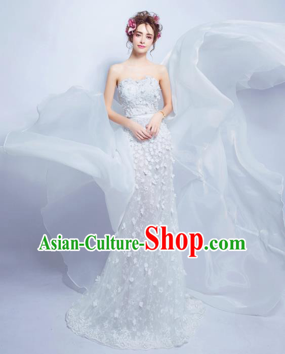 Top Grade Princess Strapless Wedding Dress Handmade Fancy Wedding Gown for Women