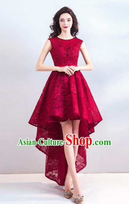 Top Grade Compere Costume Handmade Catwalks Bride Wine Red Lace Formal Dress for Women