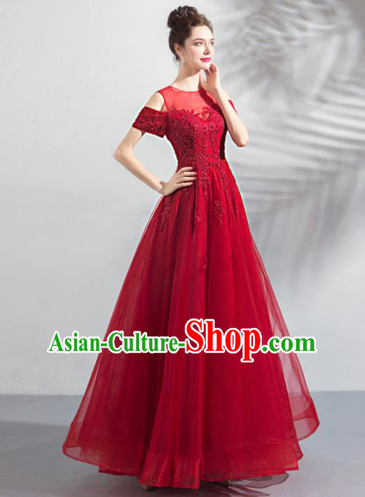 Top Grade Princess Wedding Dress Handmade Fancy Red Veil Wedding Gown for Women