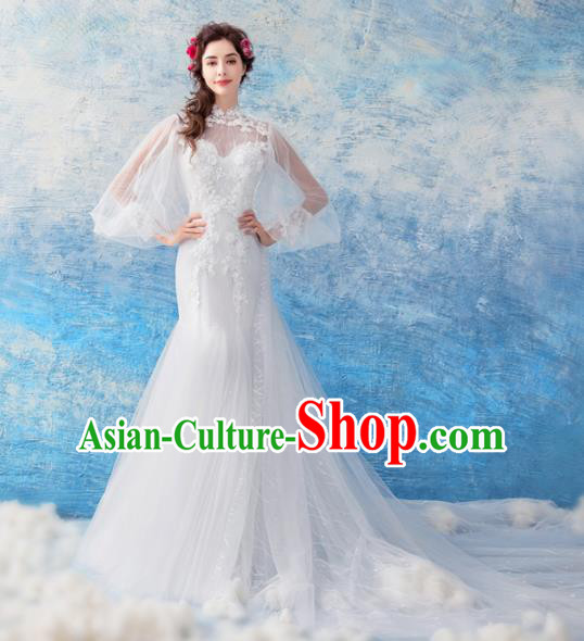 Handmade Princess Embroidered Mermaid Wedding Dress Fancy Wedding Gown for Women