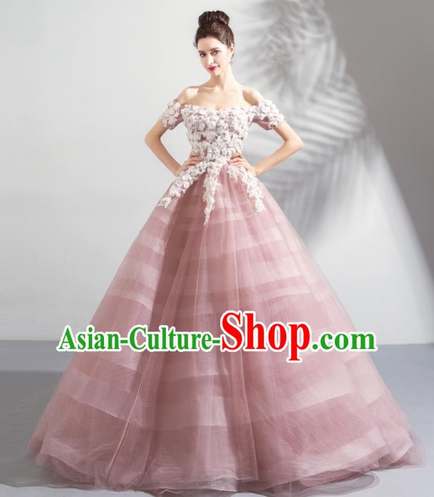 Handmade Princess Pink Wedding Dress Fancy Embroidered Wedding Gown for Women