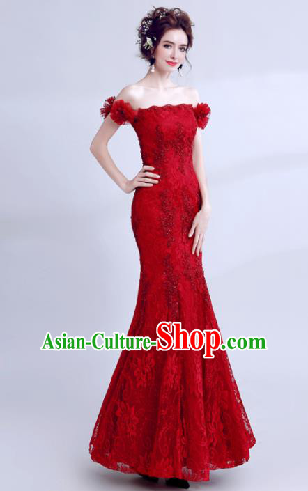 Top Grade Compere Red Lace Formal Dress Handmade Catwalks Angel Full Dress for Women