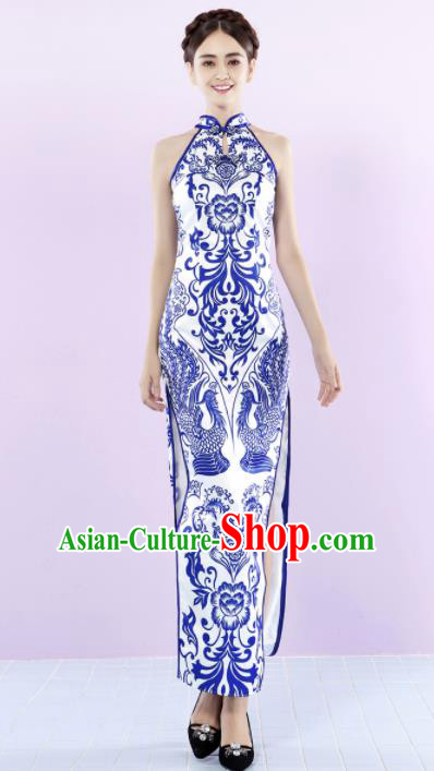 Chinese Traditional Chorus Printing Phoenix Cheongsam Wedding Bride Costume Compere Full Dress for Women