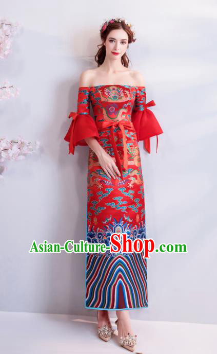 Chinese Traditional Chorus Dragons Cheongsam Wedding Bride Compere Red Full Dress for Women