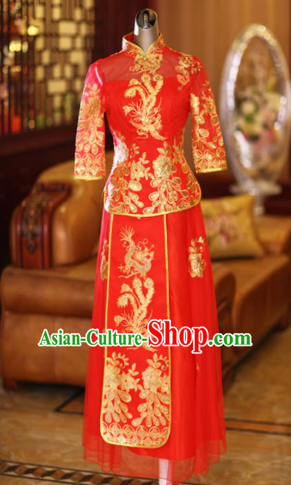 Ancient Chinese Wedding Costumes Embroidered Red Dress Xiuhe Suits for Women