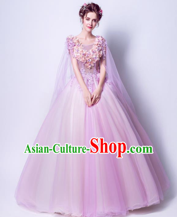 Handmade Bride Purple Wedding Dress Princess Costume Flowers Fairy Fancy Wedding Gown for Women