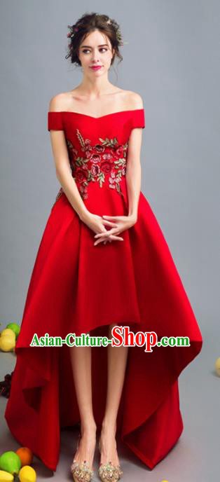 Top Grade Red Silk Trailing Formal Dress Compere Costume Catwalks Evening Dress for Women