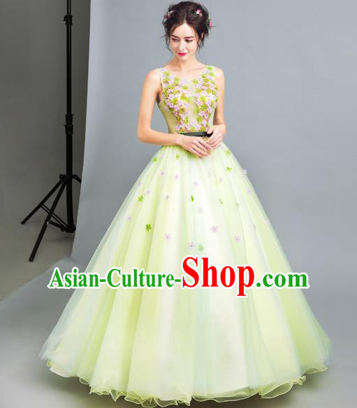 Handmade Bride Green Wedding Dress Princess Costume Flowers Fairy Fancy Wedding Gown for Women