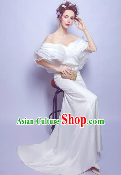 Handmade Bride White Wedding Dress Princess Costume Flowers Fairy Fancy Wedding Gown for Women