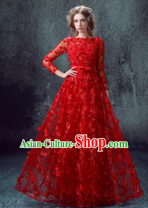 Handmade Bride Red Lace Wedding Dress Princess Costume Flowers Fairy Fancy Wedding Gown for Women