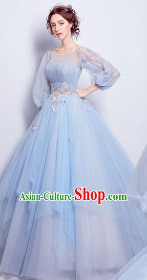 Handmade Bride Blue Veil Wedding Dress Princess Costume Flowers Fairy Fancy Wedding Gown for Women