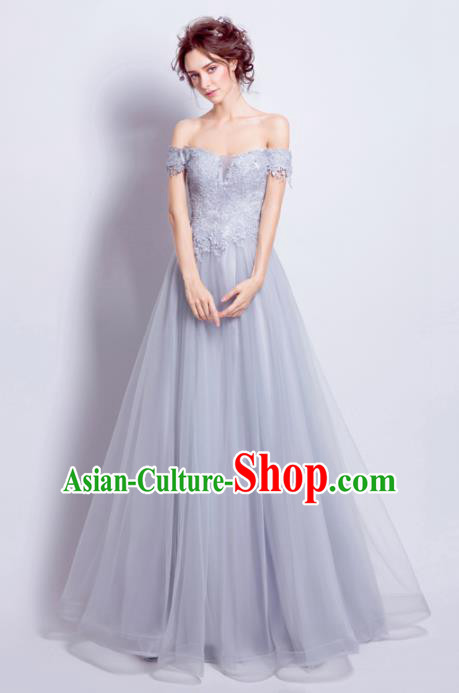 Handmade Bride Grey Veil Wedding Dress Princess Costume Flowers Fairy Fancy Wedding Gown for Women