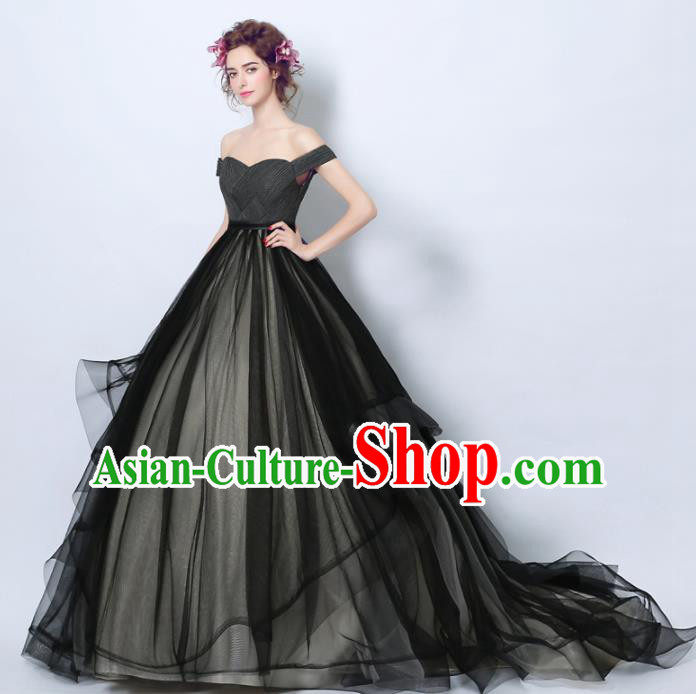 Handmade Bride Black Veil Wedding Dress Princess Costume Flowers Fairy Fancy Wedding Gown for Women