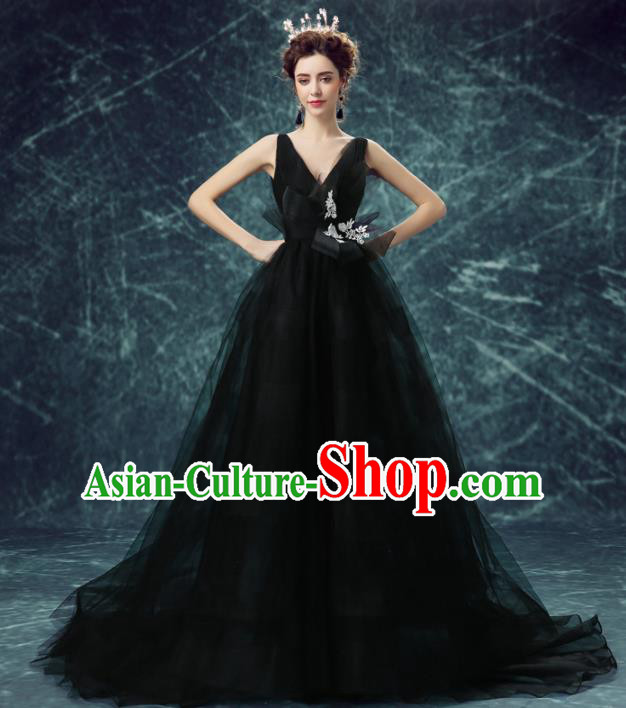 Handmade Black Veil Queen Wedding Dress Fancy Formal Dress Wedding Gown for Women