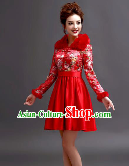 Chinese Traditional Wedding Full Dress Bride Red Tang Suit Cheongsam for Women
