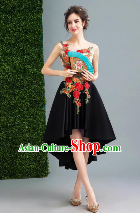 Handmade Embroidered Peony Evening Dress Compere Costume Catwalks Angel Full Dress for Women