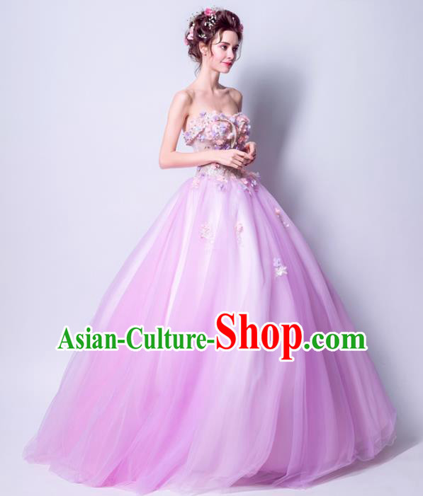 Handmade Bride Off Shoulder Lilac Wedding Dress Princess Costume Fancy Wedding Gown for Women