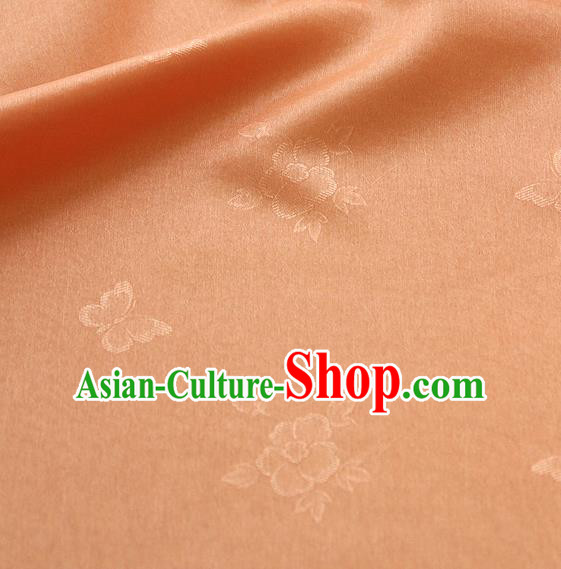 Asian Korean Traditional Orange Tajung Fabric Classical Butterfly Pattern Silk Fabric Hanbok Thin Silk Material