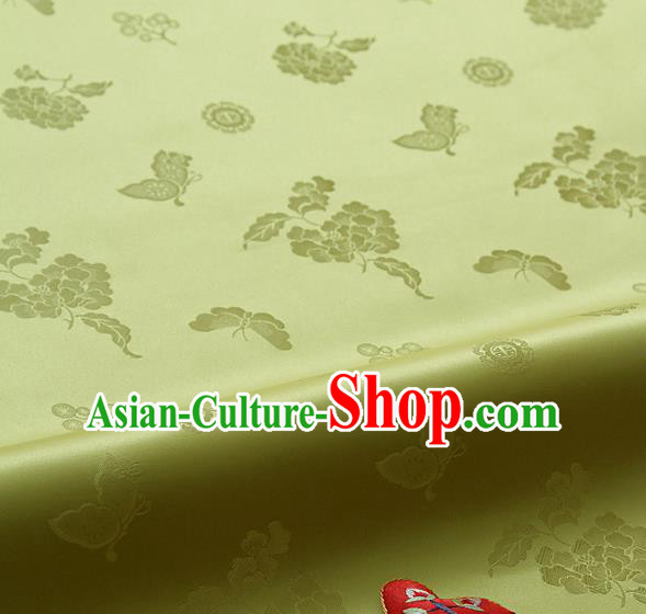 Asian Korean Traditional Golden Brocade Fabric Classical Butterfly Peony Pattern Silk Fabric Hanbok Silk Material