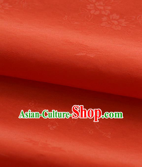 Asian Korean Traditional Orange Tajung Fabric Classical Pattern Thin Tough Silk Fabric Hanbok Silk Material