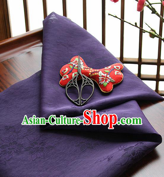 Asian Korean Traditional Deep Purple Tajung Fabric Classical Pattern Thin Tough Silk Fabric Hanbok Silk Material