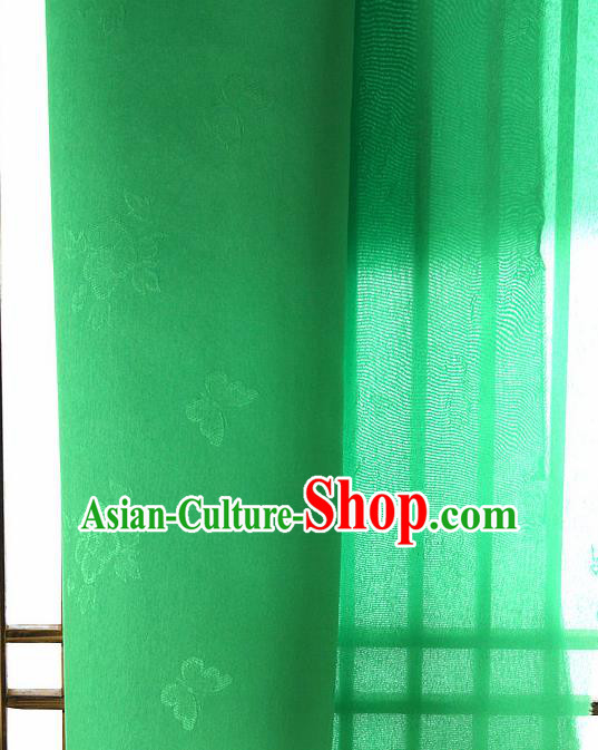 Asian Korean Traditional Green Tajung Fabric Classical Butterfly Pattern Silk Fabric Hanbok Thin Silk Material