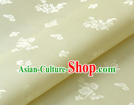 Asian Traditional Palace Drapery Korean Hanbok Royal Pattern Beige Brocade Satin Fabric