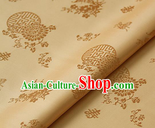 Asian Traditional Palace Drapery Korean Hanbok Royal Butterfly Pattern Golden Brocade Satin Fabric