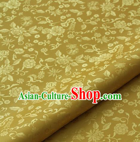 Asian Traditional Palace Drapery Korean Hanbok Royal Chrysanthemum Pattern Golden Brocade Satin Fabric
