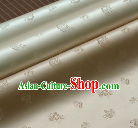 Asian Traditional Classical Wintersweet Pattern Golden Silk Drapery Korean Hanbok Palace Brocade Fabric