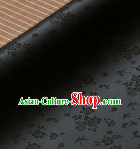 Asian Traditional Classical Wintersweet Pattern Black Silk Drapery Korean Hanbok Palace Brocade Fabric