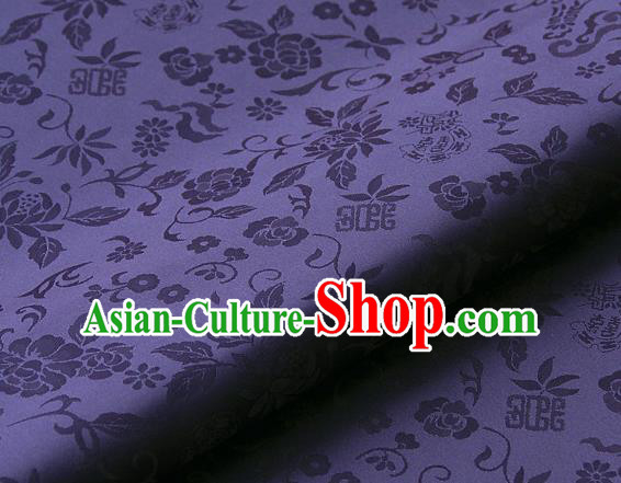 Asian Traditional Palace Drapery Korean Hanbok Royal Peony Pattern Purple Brocade Satin Fabric