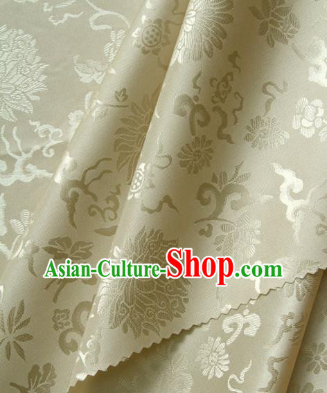 Asian Korean Traditional Palace Drapery Royal Pattern Golden Brocade Satin Fabric Silk Fabric Material