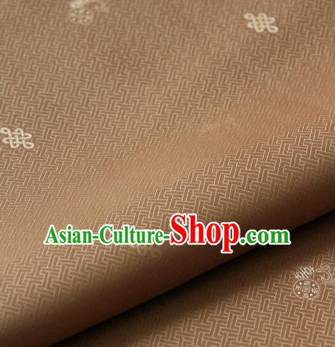 Asian Korean Ancient Costume Drapery Traditional Palace Pattern Brown Brocade Satin Fabric Silk Fabric Material