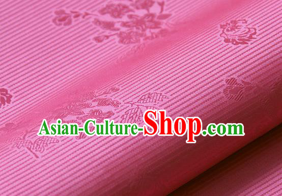 Asian Korean Ancient Costume Drapery Traditional Palace Pattern Rosy Brocade Satin Fabric Silk Fabric Material