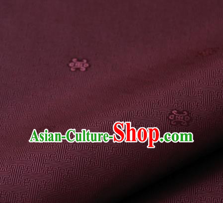 Asian Korean Ancient Costume Drapery Traditional Palace Pattern Fuchsia Brocade Satin Fabric Silk Fabric Material