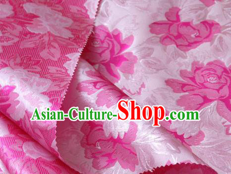 Asian Korean Classical Rosy Brocade Traditional Palace Pattern Satin Fabric Silk Fabric Material