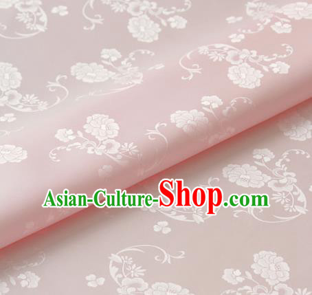 Asian Korean Classical Pink Brocade Traditional Palace Peony Pattern Satin Fabric Silk Fabric Material
