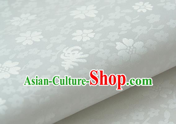 Asian Korean Classical Brocade Traditional Palace Pattern White Satin Fabric Silk Fabric Material