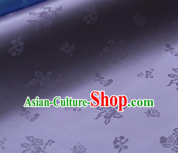 Traditional Asian Lilac Satin Classical Pattern Drapery Korean Hanbok Palace Brocade Silk Fabric