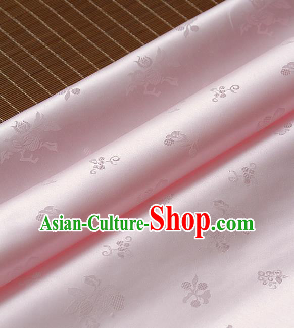 Traditional Asian Pink Satin Classical Pattern Drapery Korean Hanbok Palace Brocade Silk Fabric