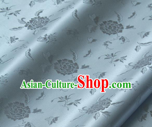 Traditional Asian Light Blue Brocade Classical Peony Pattern Drapery Korean Hanbok Palace Satin Silk Fabric